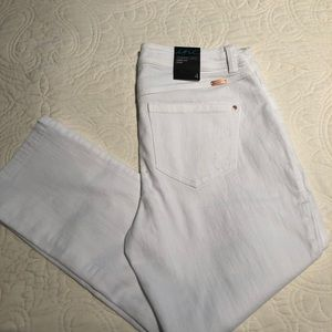 INC white crop jeans